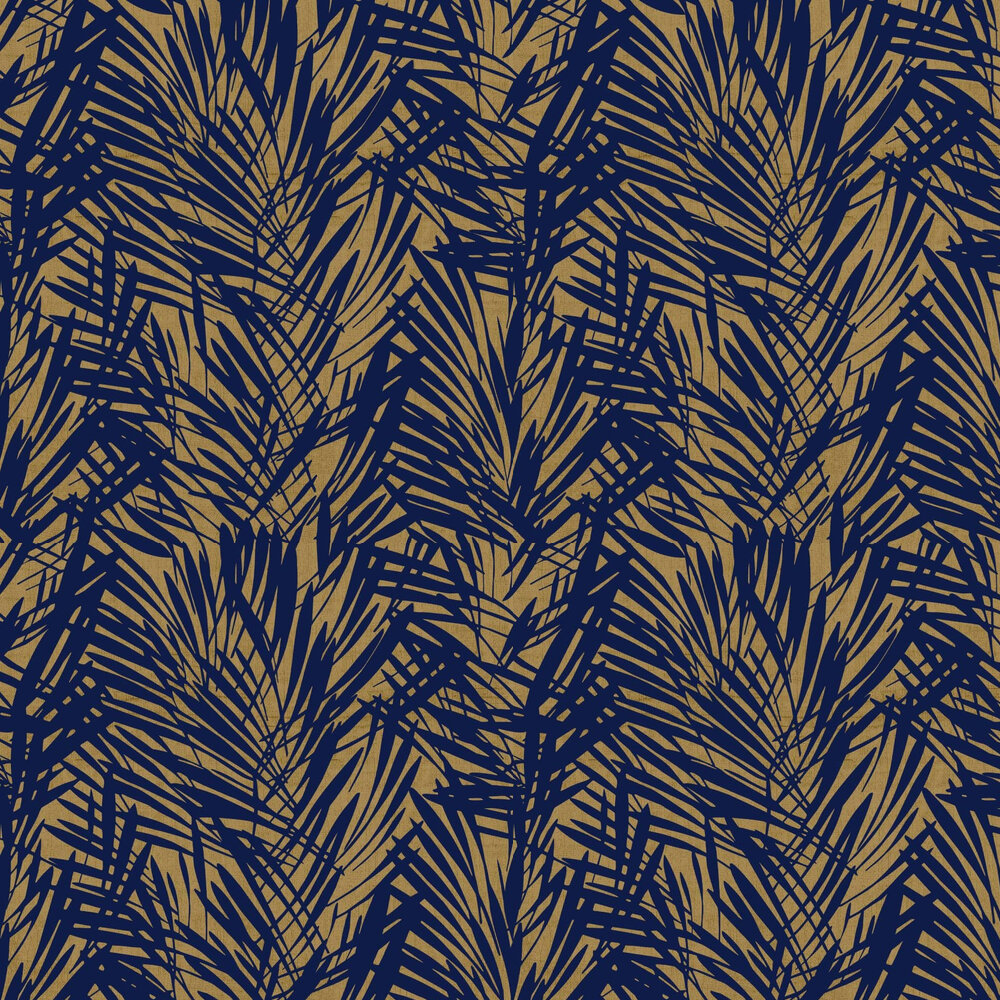 Palmeraie Wallpaper - Blue / Gold - by Lelievre