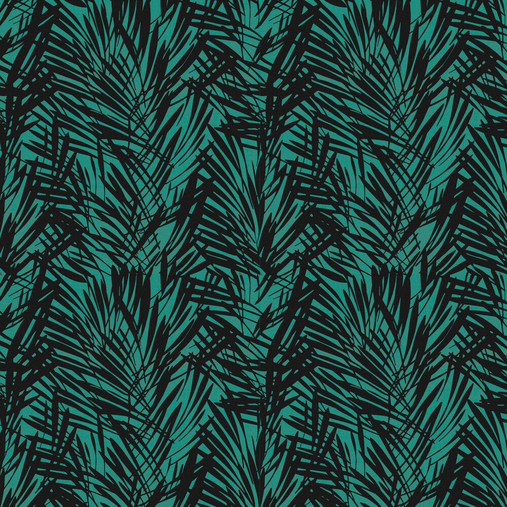 Palmeraie Wallpaper - Black / Peacock - by Lelievre