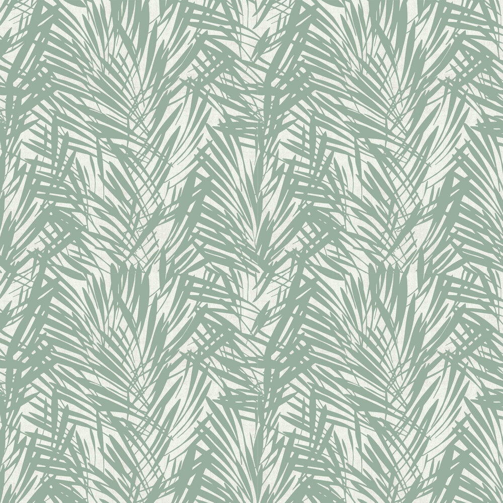 Palmeraie Wallpaper - Sage / Silver - by Lelievre