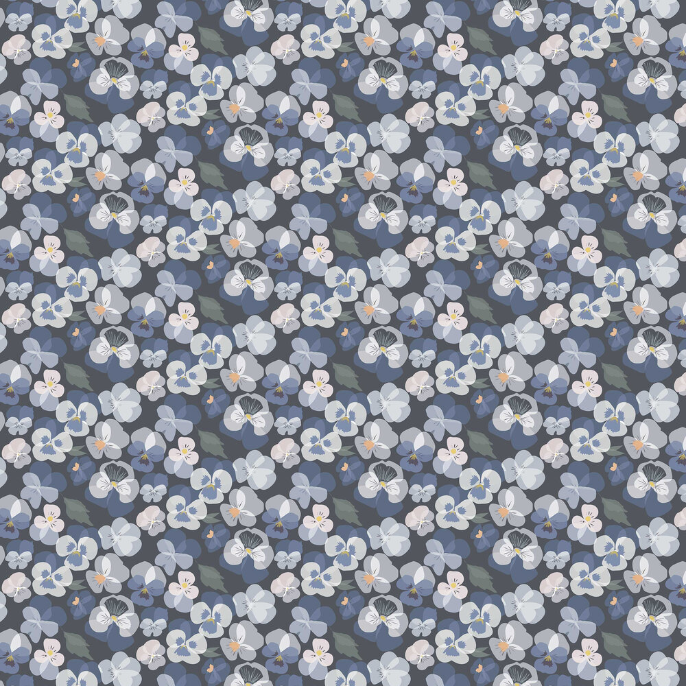 Pansy Wallpaper - Blue - by Lorna Syson