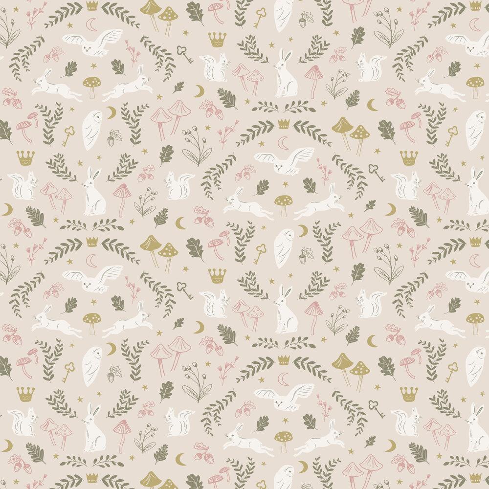 Woodland Wonders Wallpaper - Pink / Olive - by Hibou Home