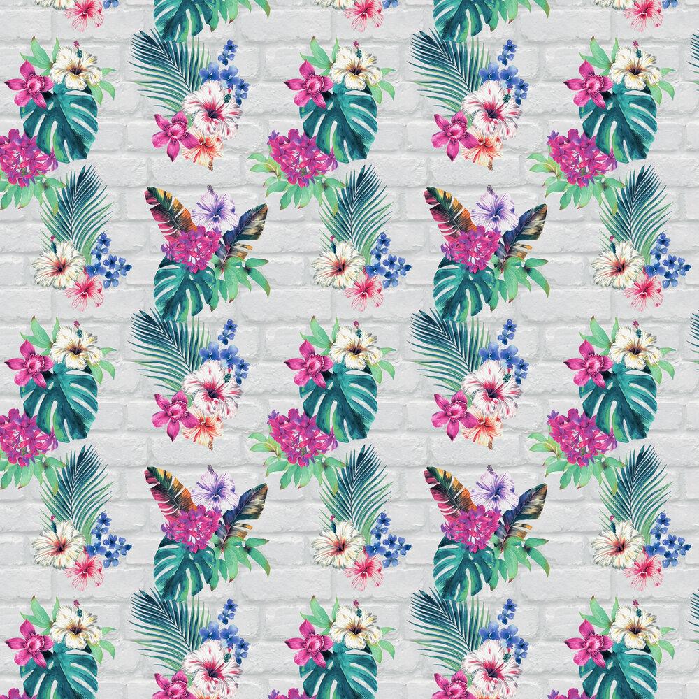 Camden Brick Floral Wallpaper - Multi Coloured - by Accessorize