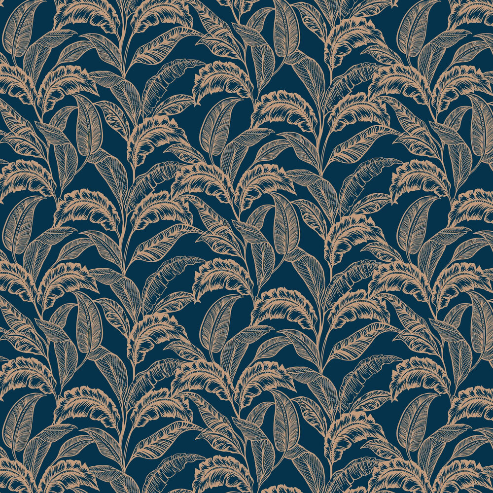 Mozambique Wallpaper - Ink Blue / Rose Gold - by Accessorize
