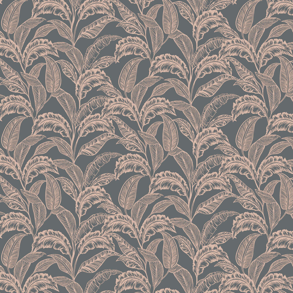 Mozambique Wallpaper - Grey / Rose Gold - by Accessorize