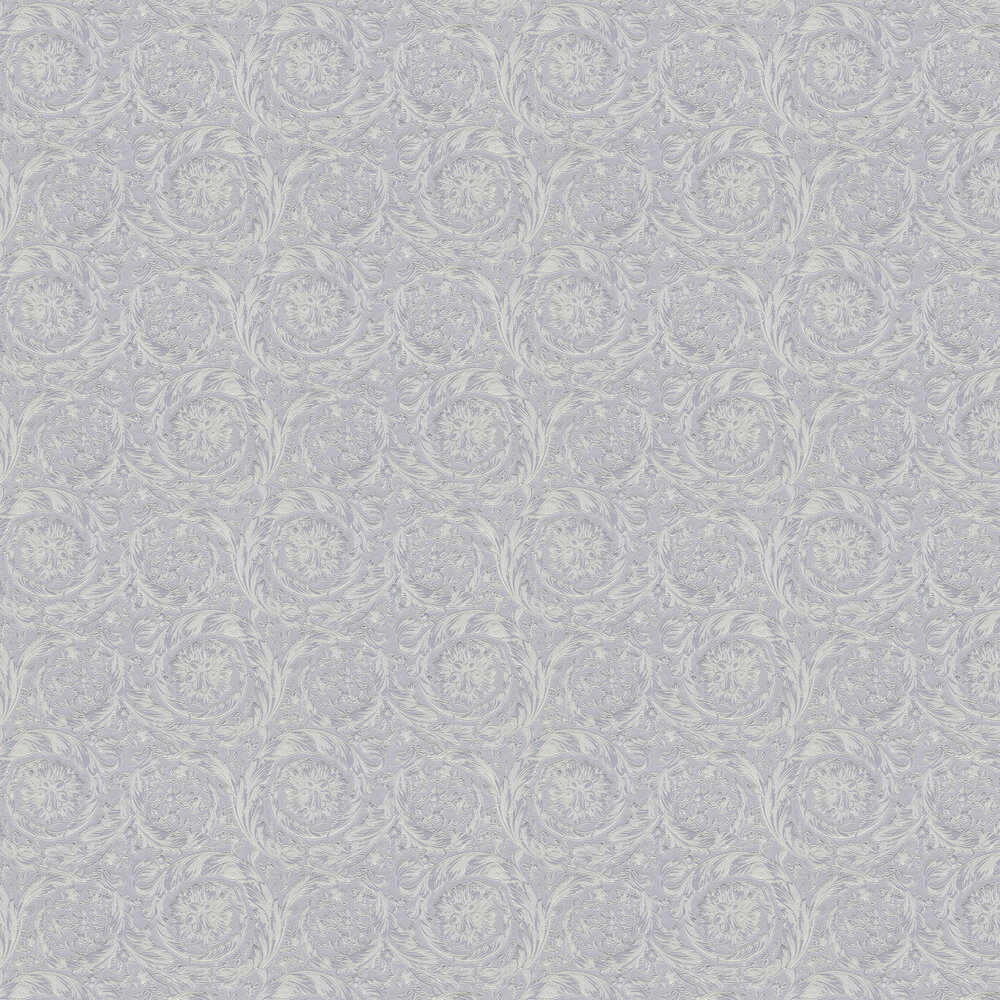 Barocco Metallics Wallpaper - Pewter Blue - by Versace