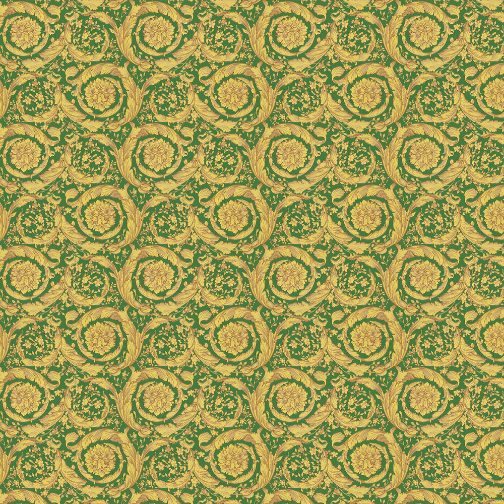 Barocco Wallpaper - Green and Yellow - by Versace