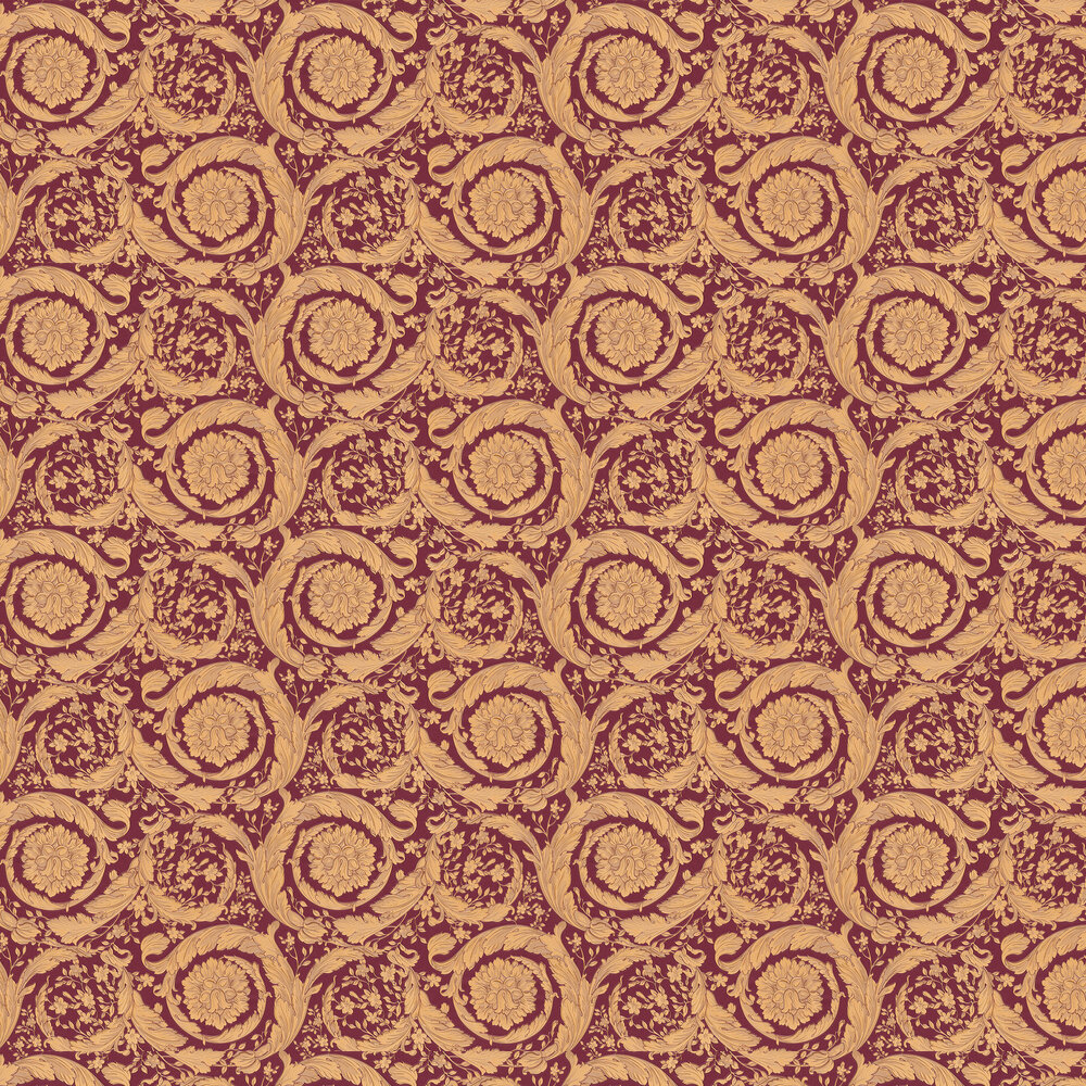 Barocco Wallpaper - Orange and Maroon - by Versace