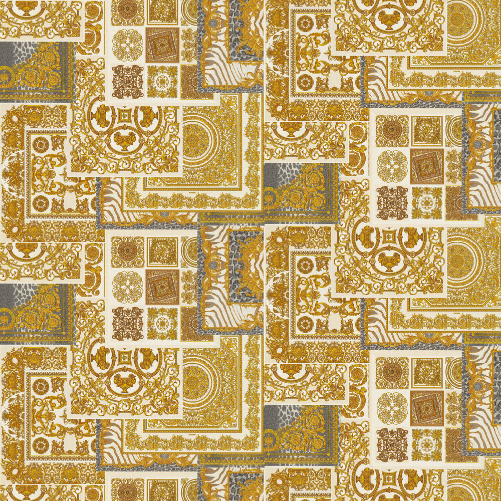 Deconpage Wallpaper - Cream and Gold - by Versace