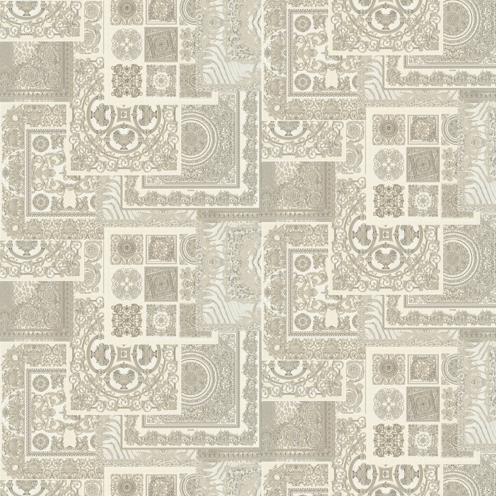 Deconpage Wallpaper - Silver and Cream - by Versace