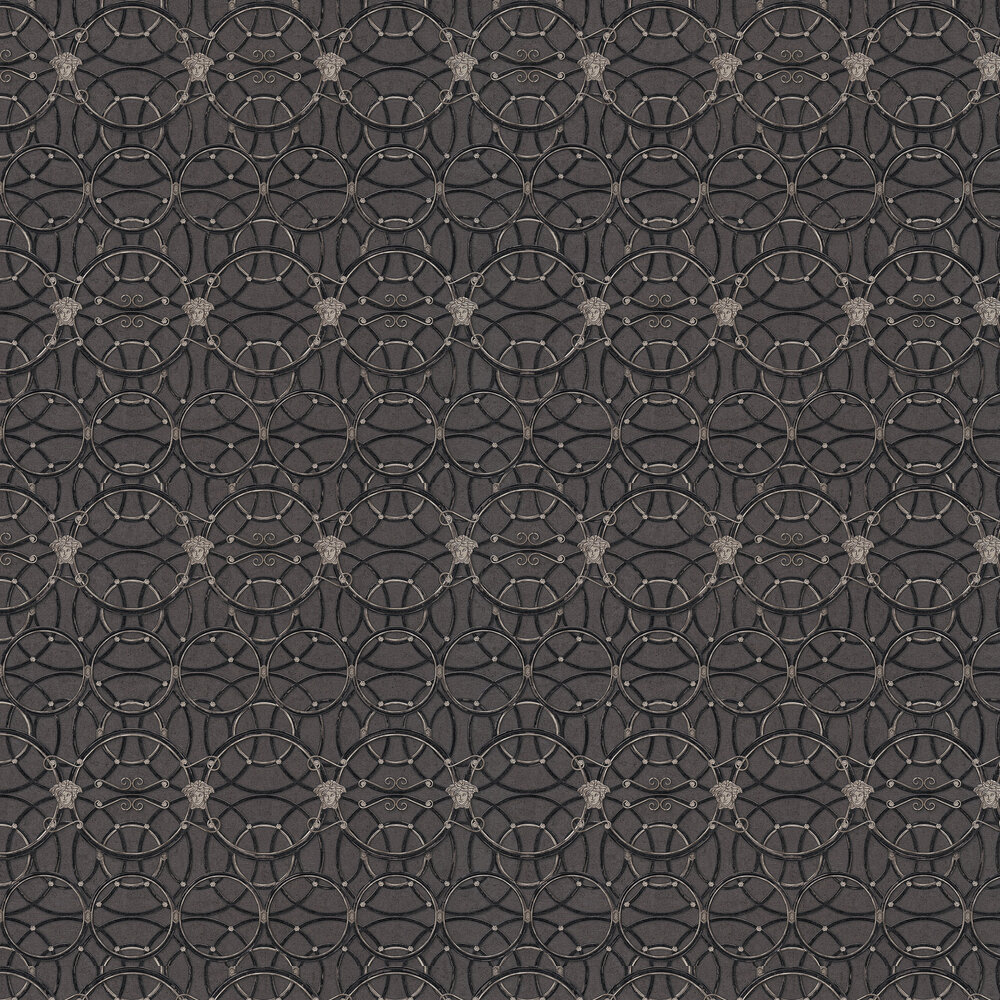 Versace La Scala Del Palazzo Charcoal with Black and Pewter Wallpaper - Product code: 37049-4