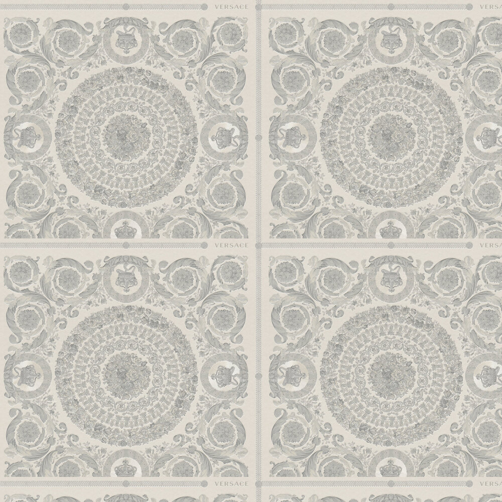Heritage Wallpaper - Silver - by Versace