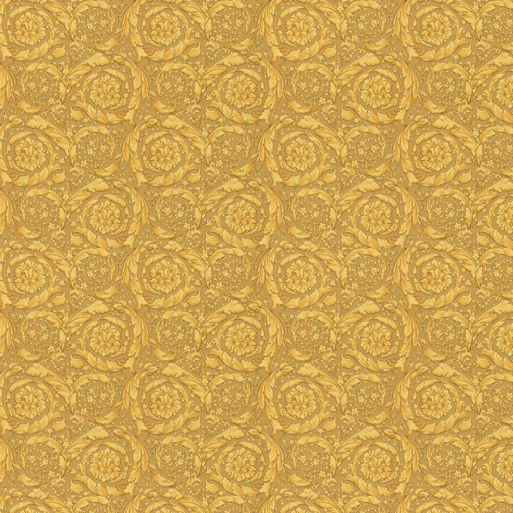 Barocco Scroll Flowers Wallpaper - Browns - by Versace