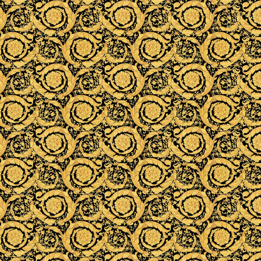 Versace Barocco Scroll Flowers Black and Gold Wallpaper - Product code: 93583-4