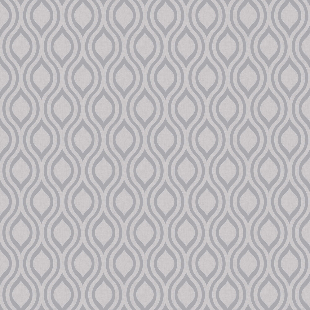 Luxe Ogee  Wallpaper - Silver - by Arthouse