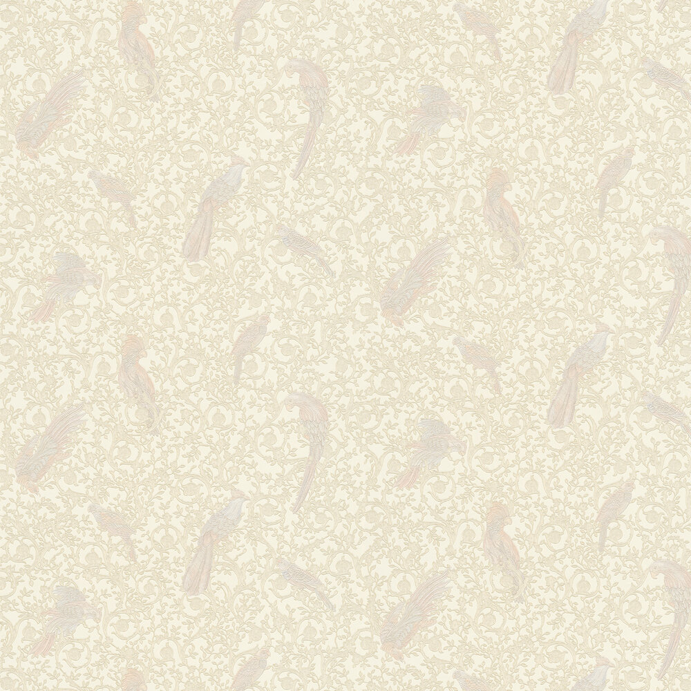 Barocco Birds Wallpaper - Cream and Gold - by Versace