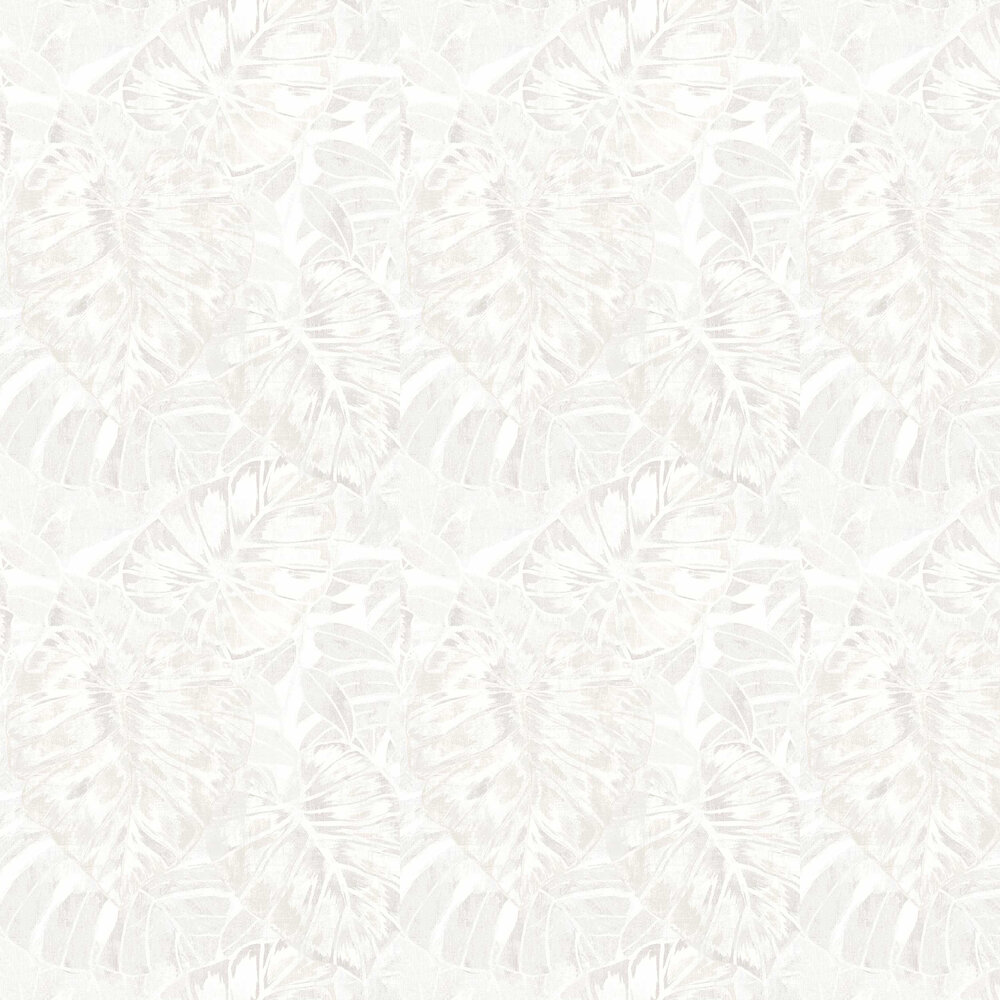 Leaves Wallpaper - White - by Casadeco