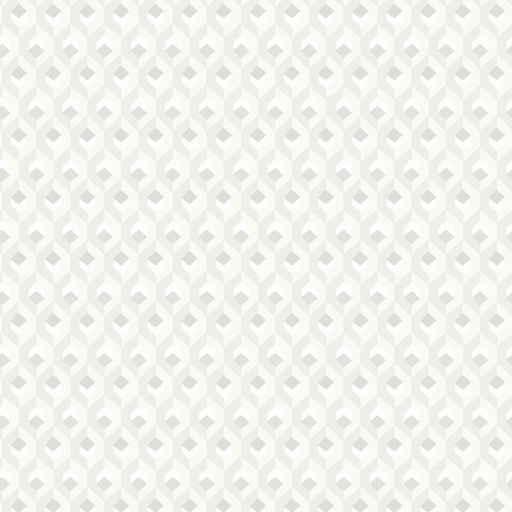 Hexacube Wallpaper - Blanc - by Casadeco