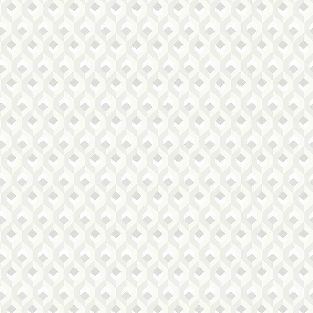 Hexacube Wallpaper - White - by Casadeco