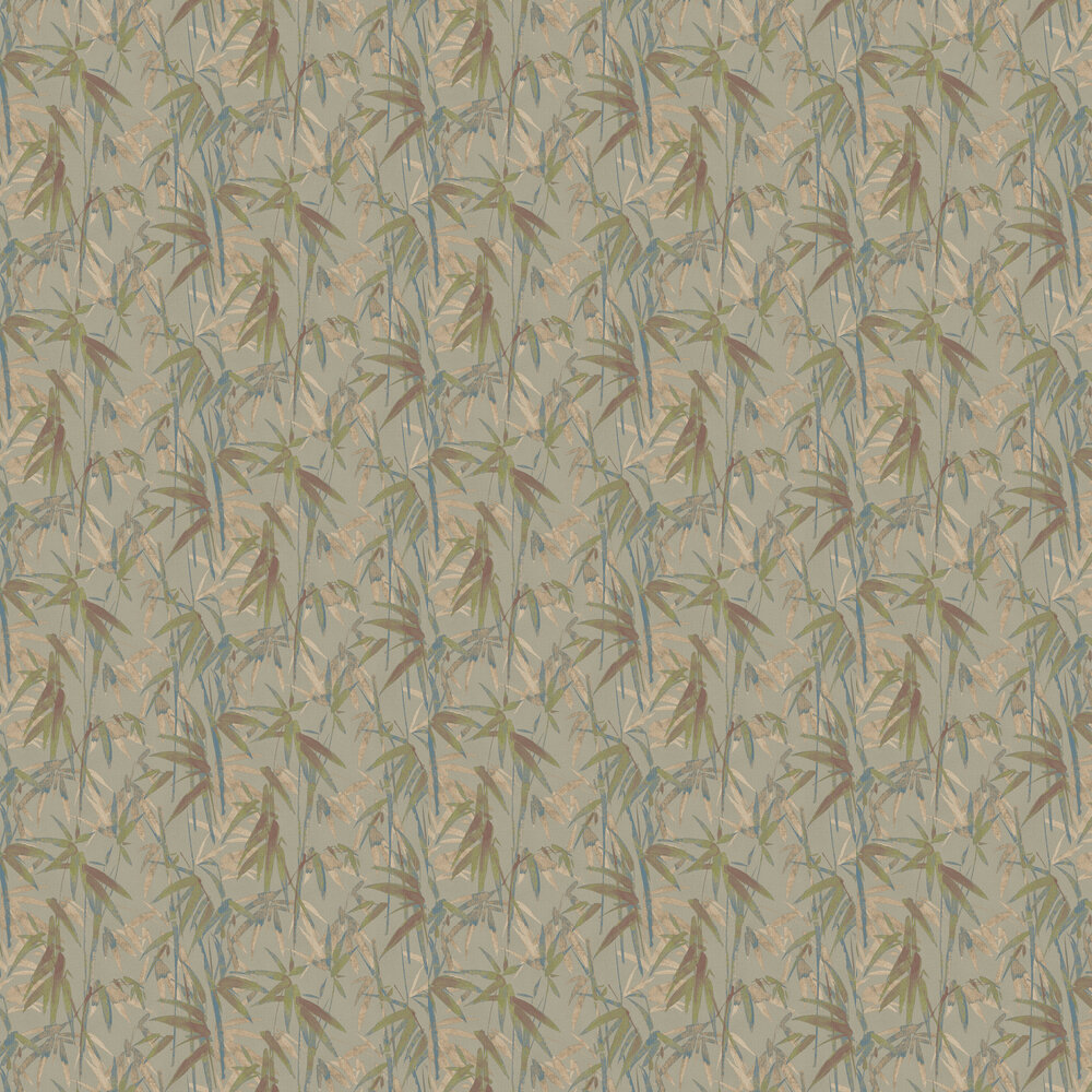 Bamboo Wallpaper - Metallic Greens and Copper - by Brewers