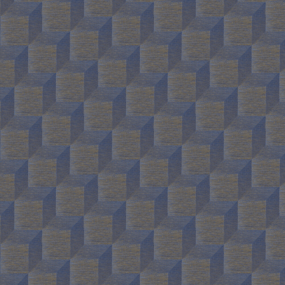 Geometric Wallpaper - Blue w/ Copper - by Brewers