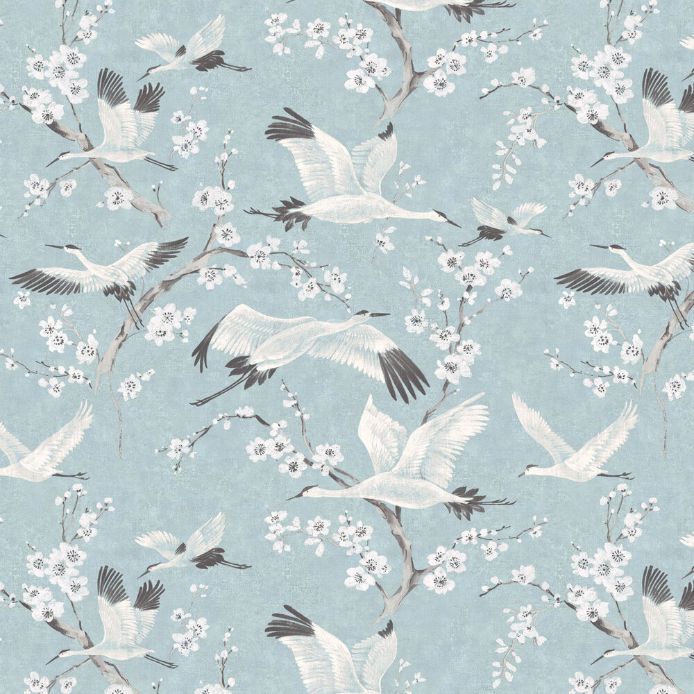 Crane & Blossom Wallpaper - Pastel Blue and White - by Brewers