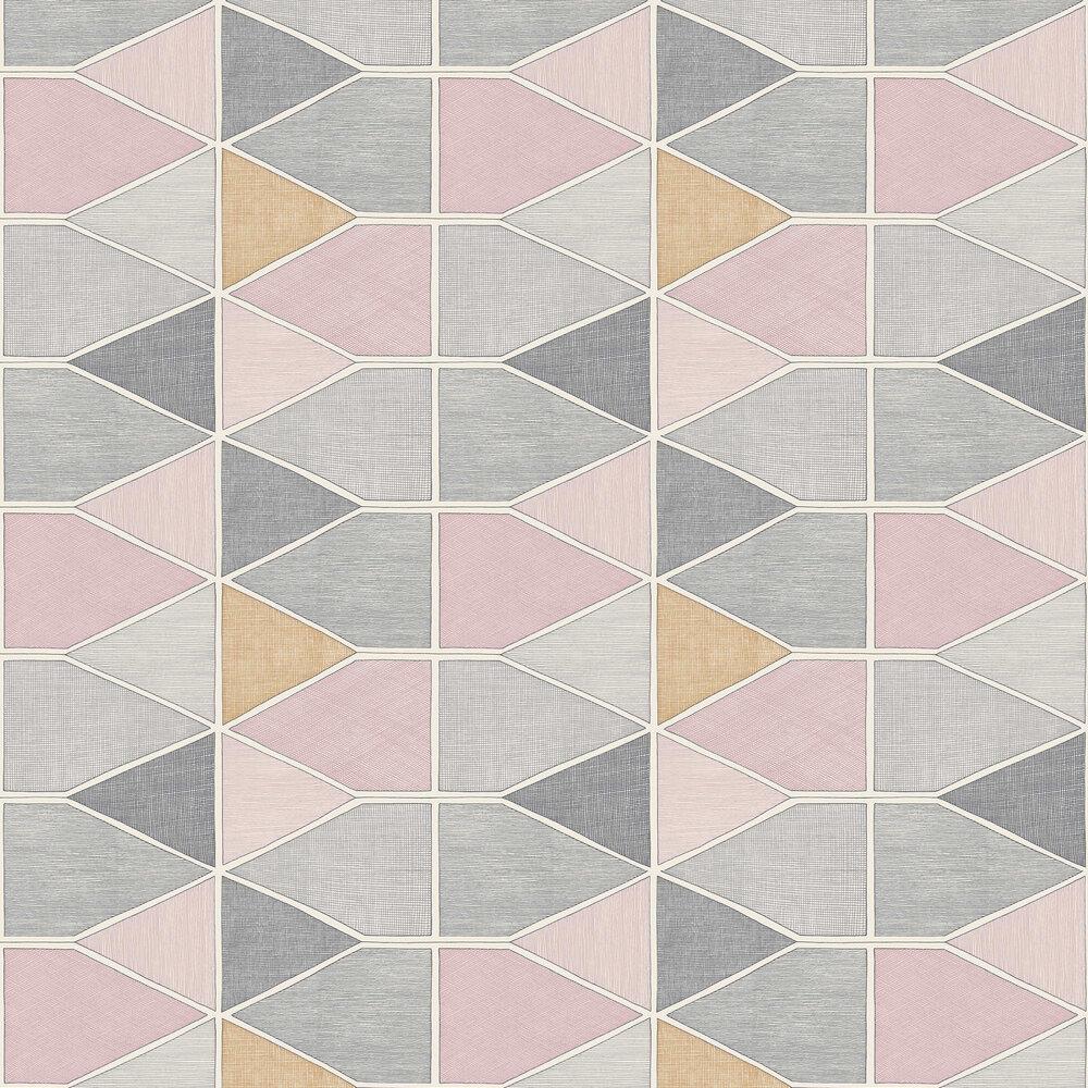 Stella Color Wallpaper - Pink / Grey - by Casadeco