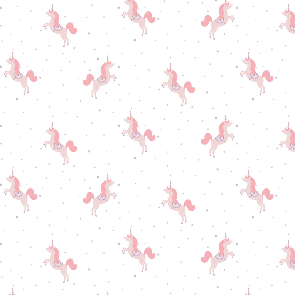 Princess Unicorns Wallpaper - Pale Pink and Silver - by Caselio
