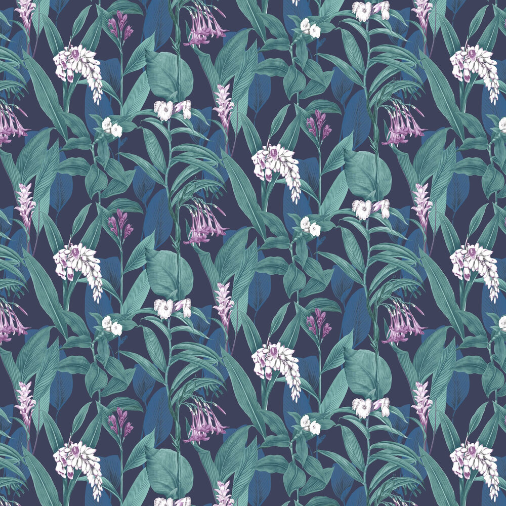 Botanical Wallpaper - Midnight - by Graham & Brown