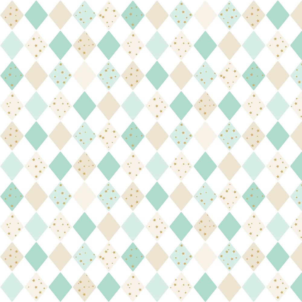 Shine Bright Like a Diamond Wallpaper - Aqua and Gold - by Caselio