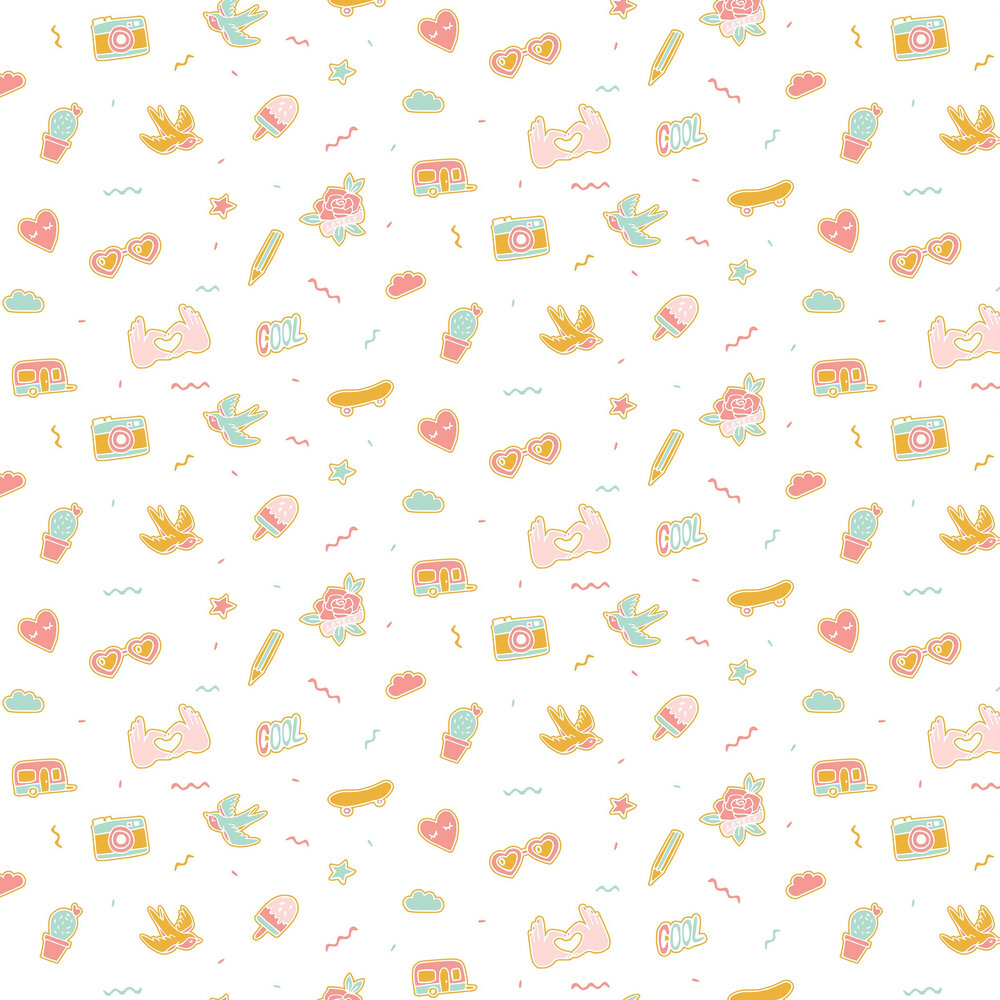 Pin's Me Wallpaper - Aqua, Pink and Orange - by Caselio