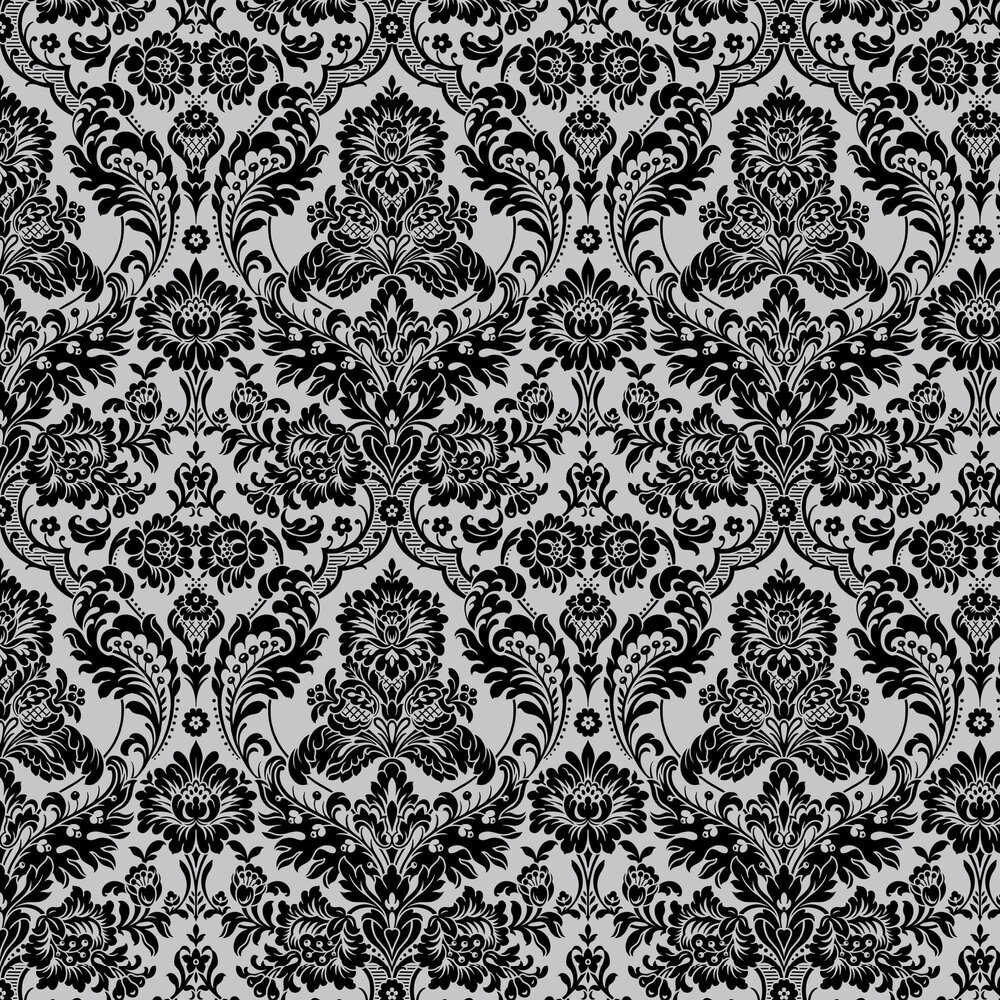 Gothic Damask Flock By Graham Brown Black Silver Wallpaper