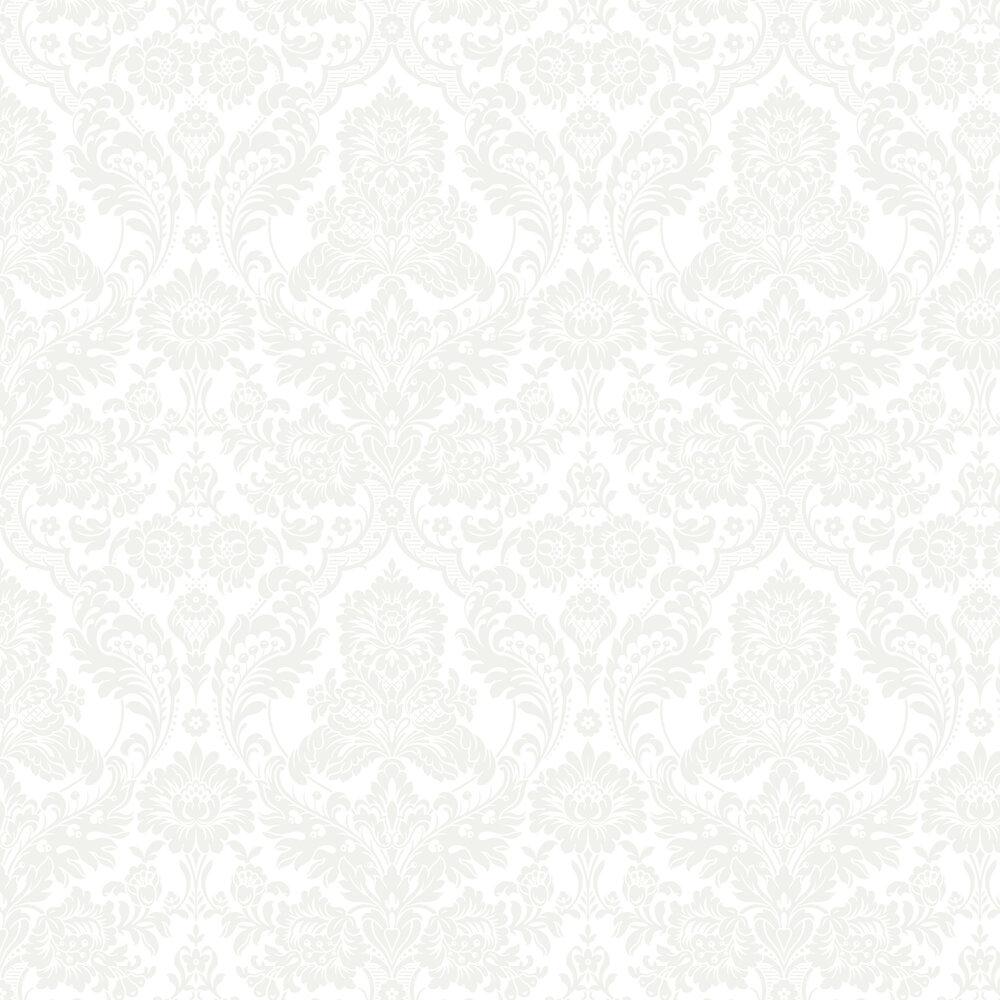 Gothic Damask Flock Wallpaper - White - by Graham & Brown
