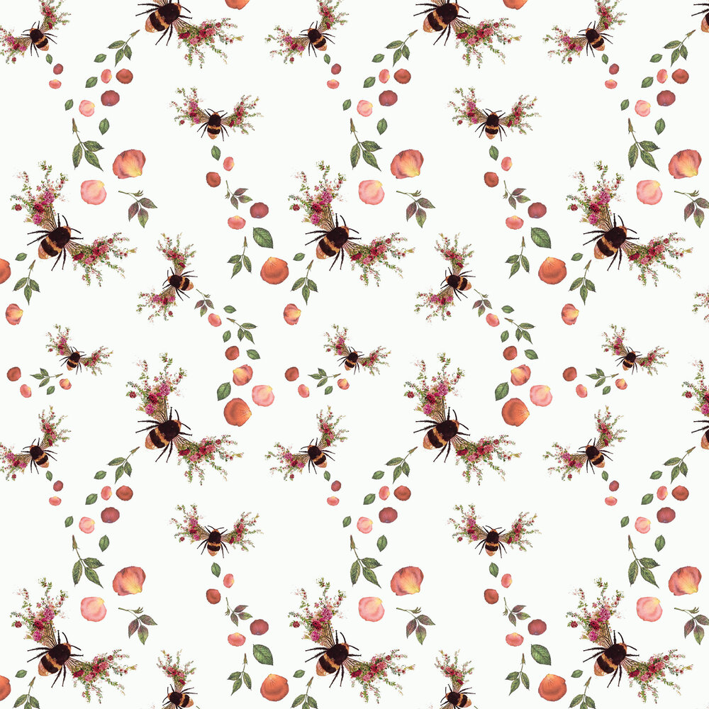 Hattie Lloyd Bee Bloom Pearl White Wallpaper - Product code: HLBBW1
