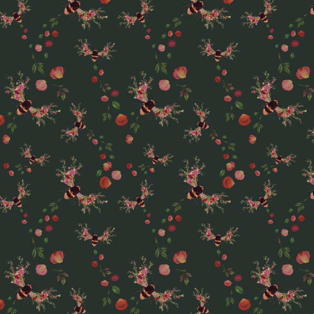 Bee Bloom Wallpaper - Velvet Green - by Hattie Lloyd