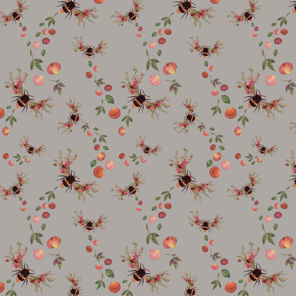 Bee Bloom Wallpaper - Silver - by Hattie Lloyd
