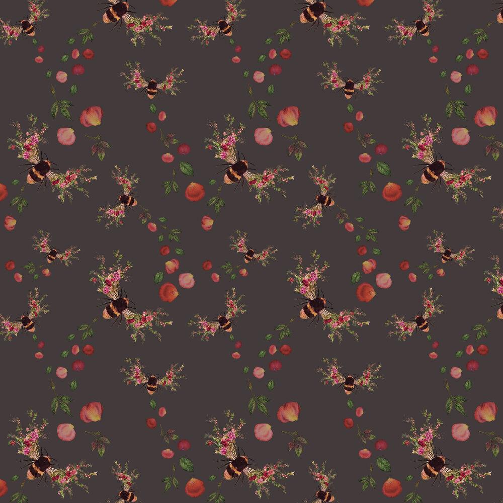 Bee Bloom Wallpaper - Charcoal - by Hattie Lloyd