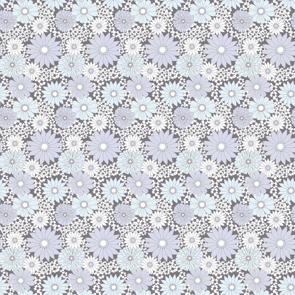 Layla Faye Hippy Flower Fusion Grey Wallpaper - Product code: LF1081