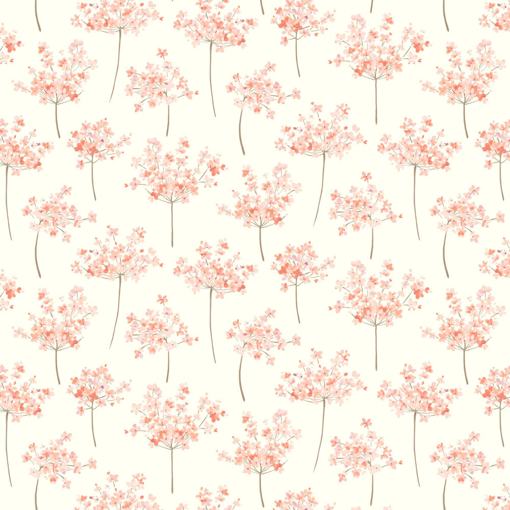Boboli Wallpaper - Coral - by Casadeco