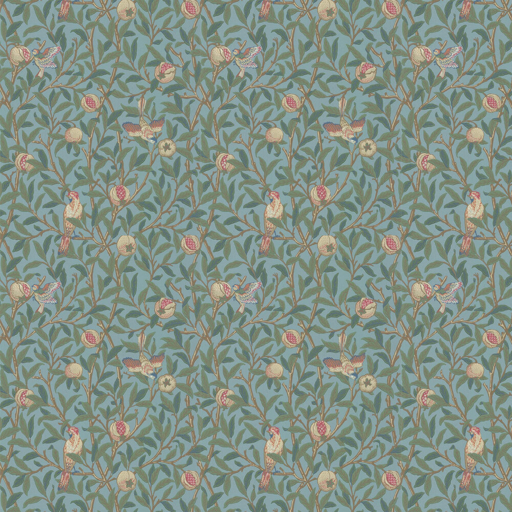 Bird & Pomegranate Wallpaper - Turquoise / Coral - by Morris