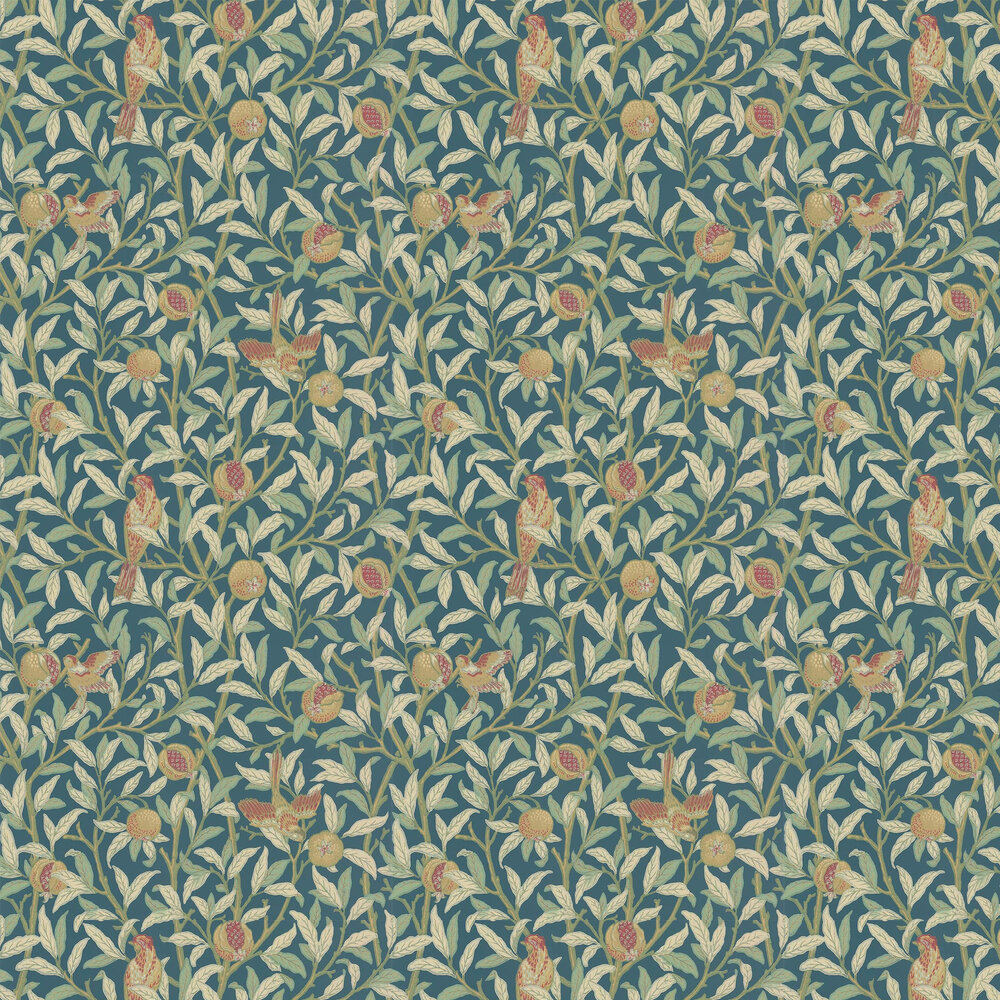 Morris Bird & Pomegranate Blue / Mint Wallpaper - Product code: 216715