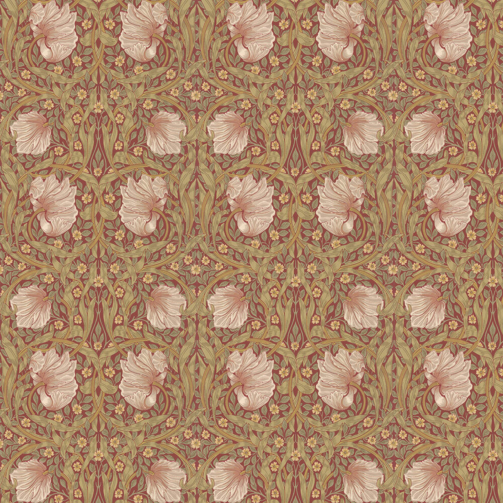 Pimpernel Wallpaper - Brick / Olive - by Morris