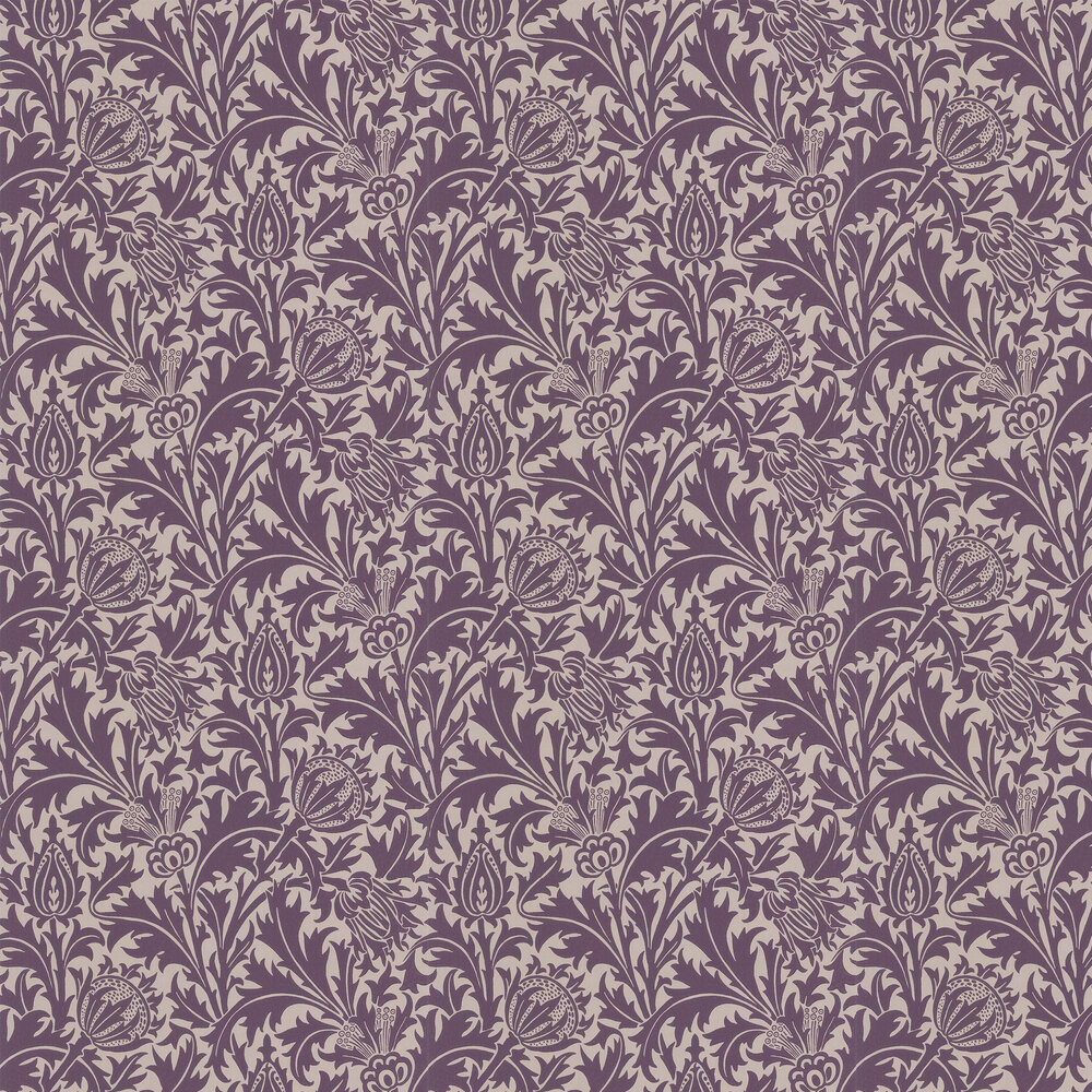 Thistle Wallpaper - Mulberry / Champagne - by Morris