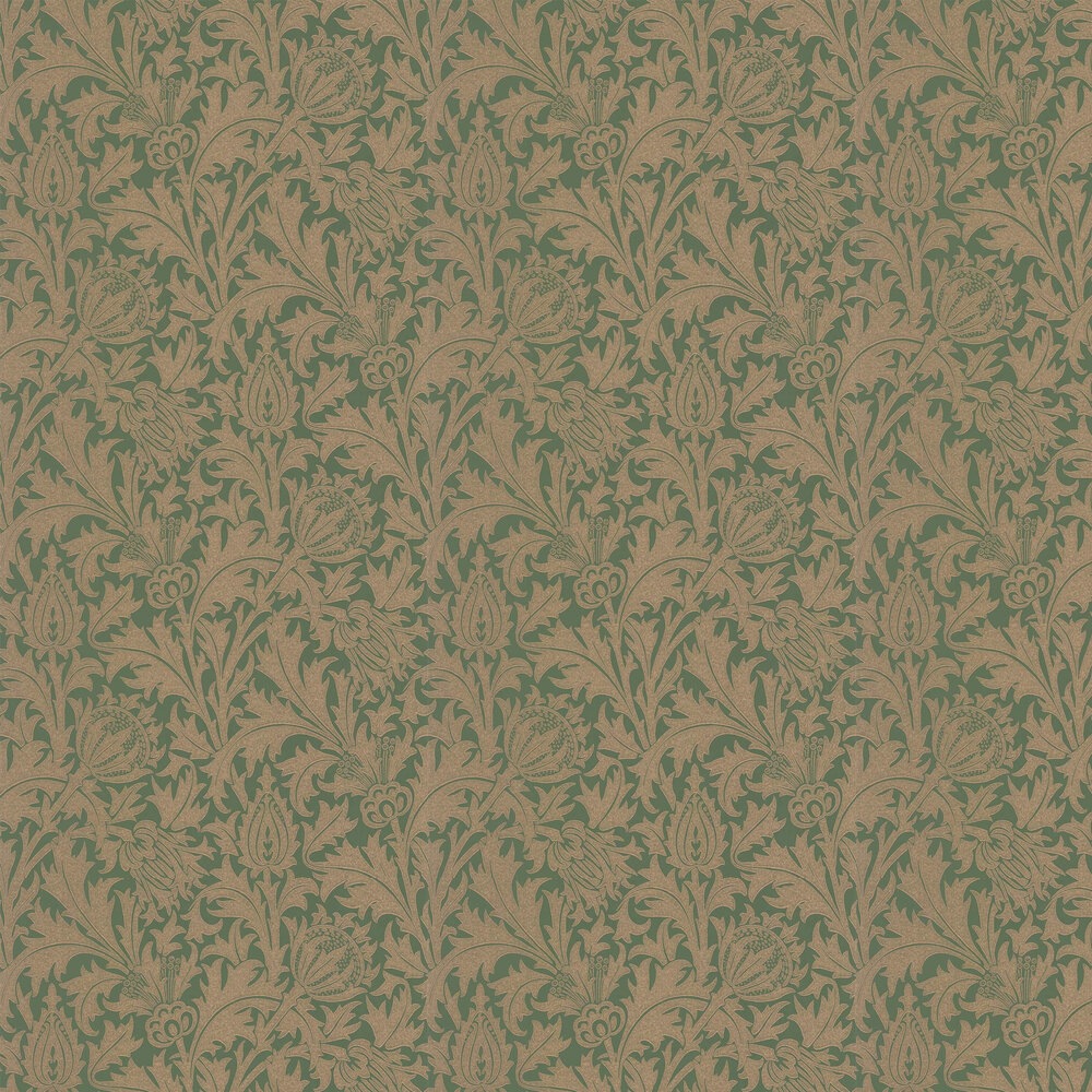 Thistle Wallpaper - Forest / Gilver - by Morris