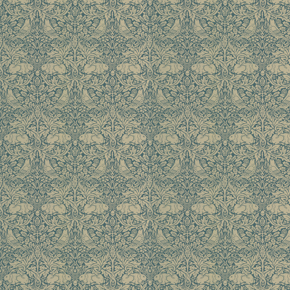 Morris Brer Rabbit Peacock / Gold Wallpaper - Product code: 216742