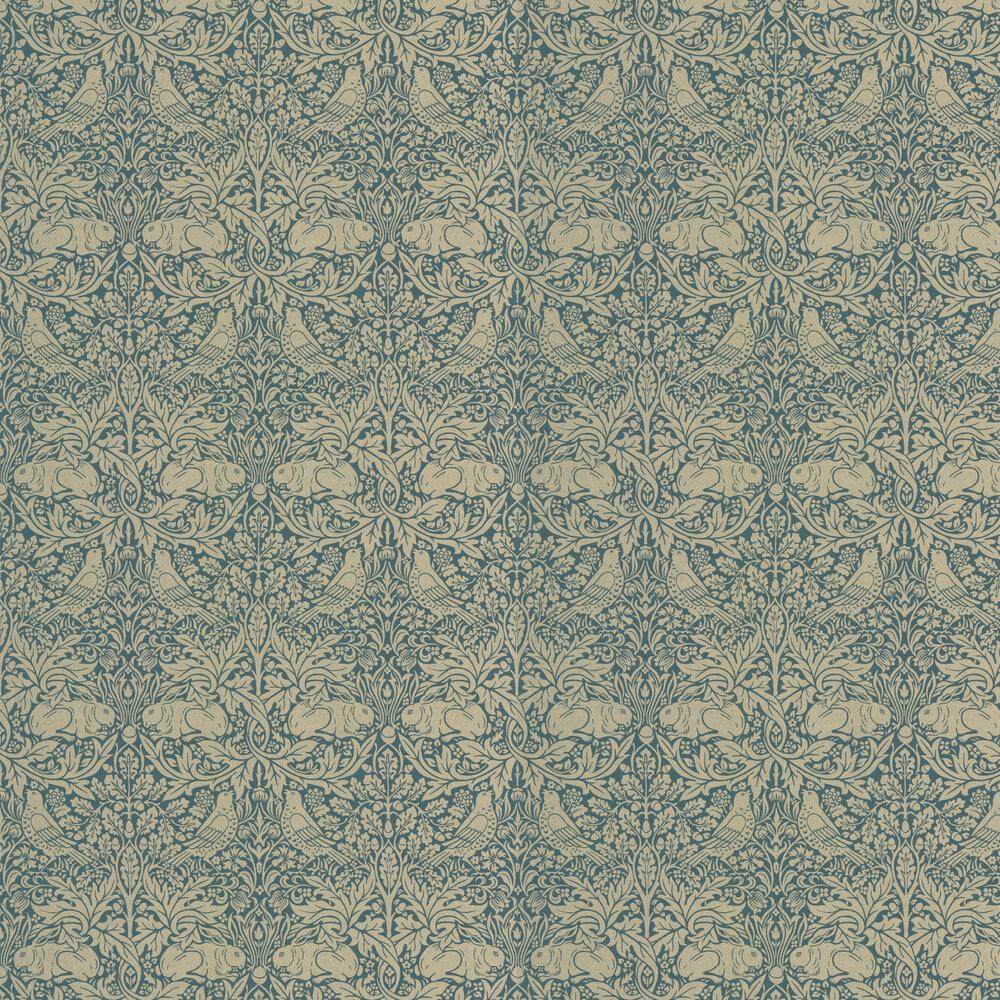 Brer Rabbit Wallpaper - Peacock / Gold - by Morris