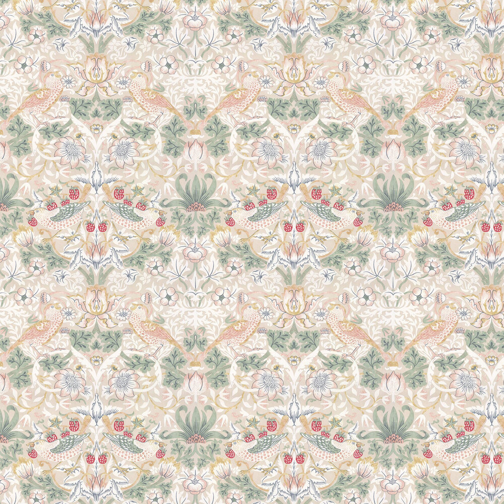 Strawberry Thief Wallpaper - Cream - by Morris