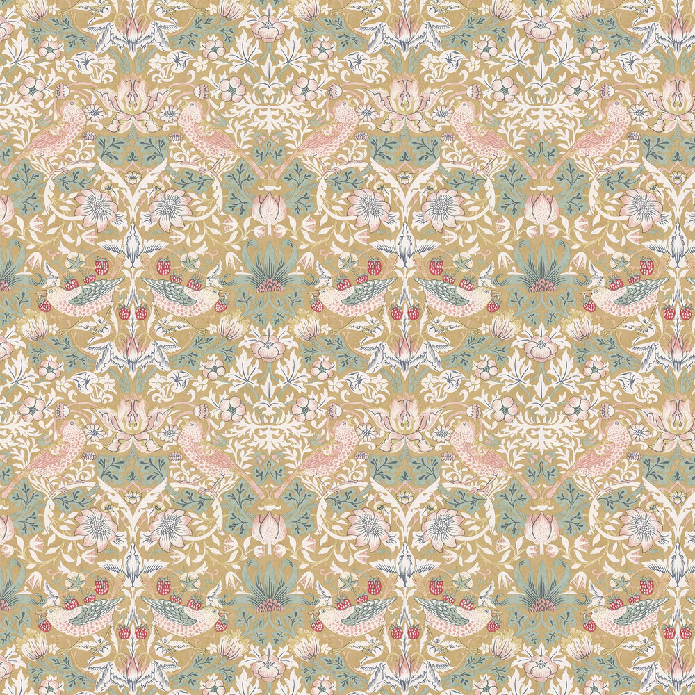 Strawberry Thief Wallpaper - Gold - by Morris