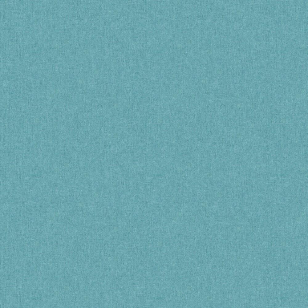 Linen Wallpaper - Medium Turquoise - by Caselio