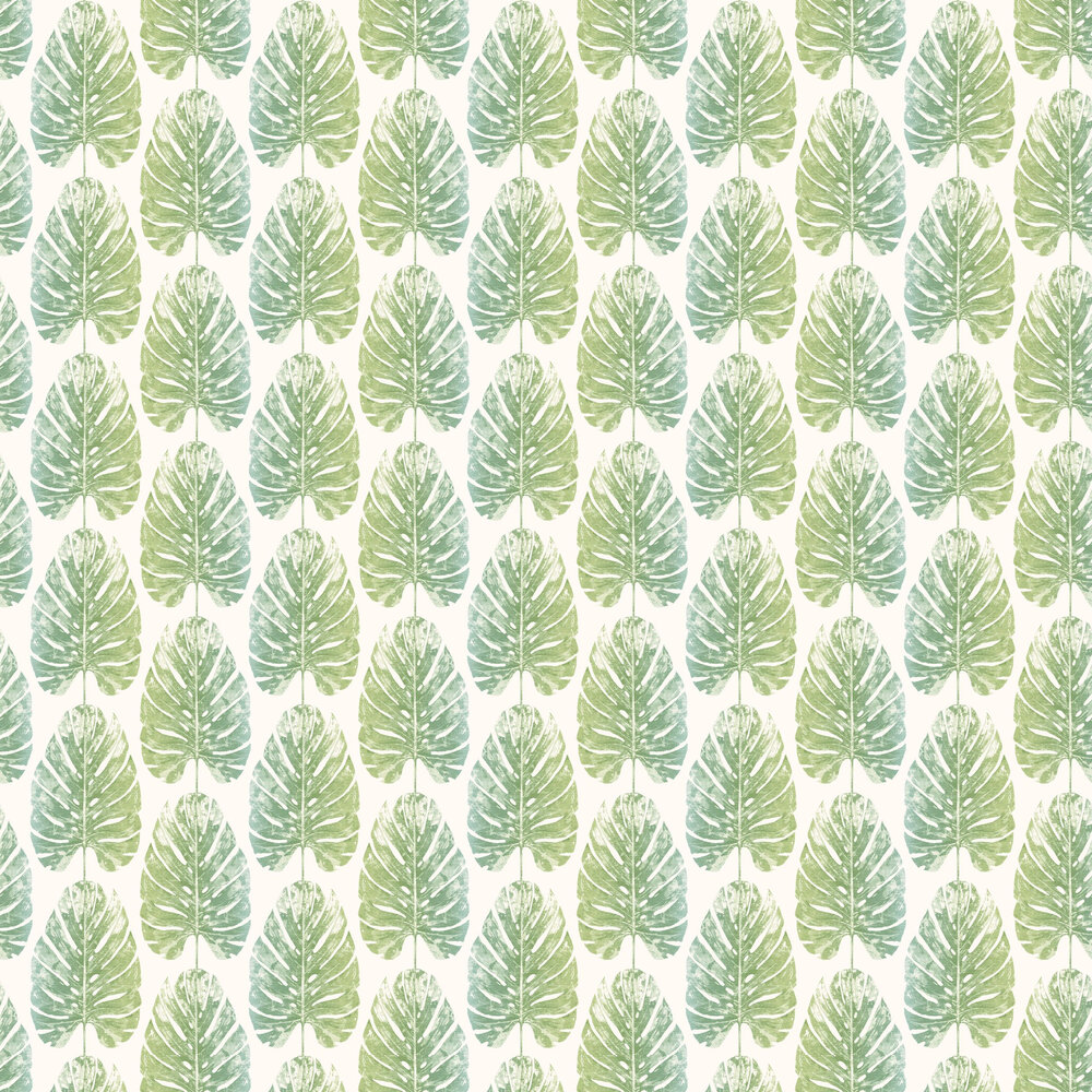 Monstera Leaves Wallpaper - Blue Green - by Galerie