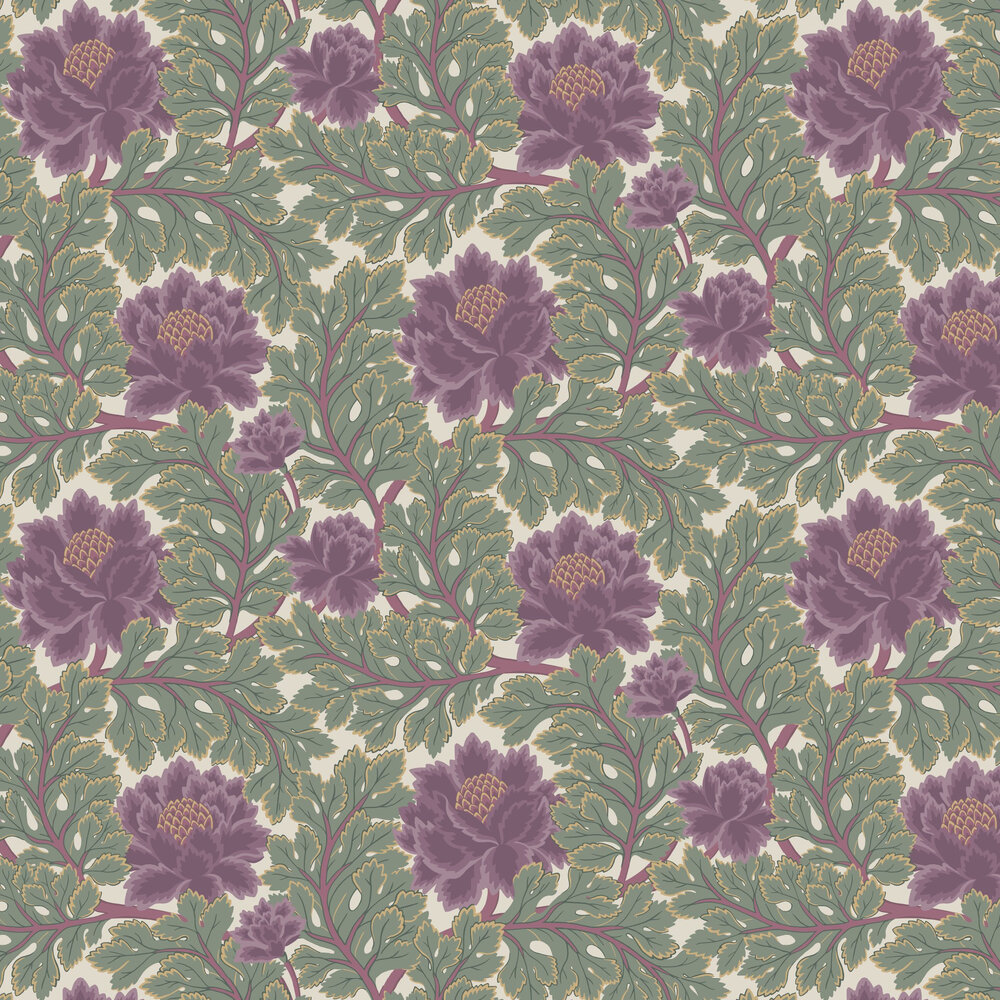 Aurora Wallpaper - Mulberry / Sage / Parchment - by Cole & Son